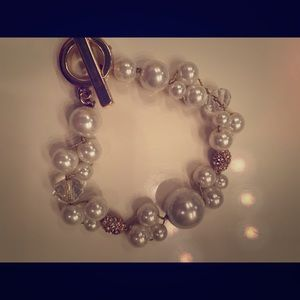 Jewelry - Gold, pearl and crystal bracelet
